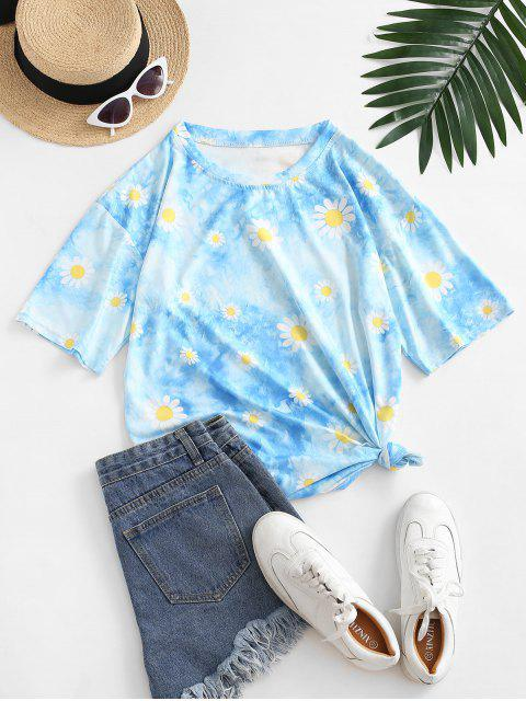 T-shirt Teinté Fleuri Imprimé à Goutte Epaule - Bleu M Mobile