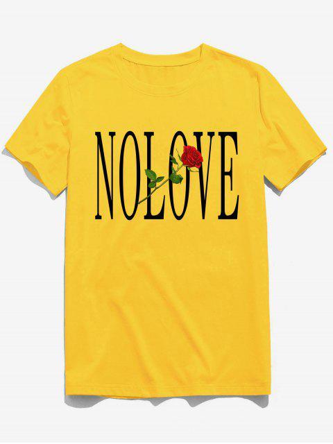 best ZAFUL Flower Letter Print Short Sleeves T-shirt - BRIGHT YELLOW S Mobile