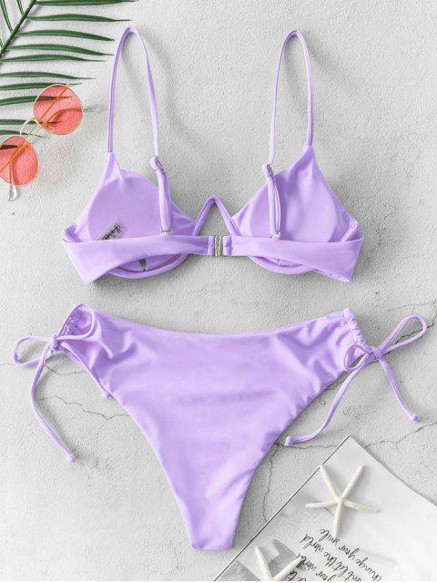 ZAFUL Maillot de Bain Bikini Néon Noué à Coupe Haute à Lacets - Violet clair S Mobile
