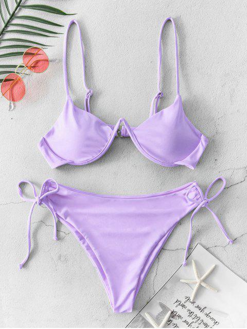 Costume da Bagno Bikini Annodato di ZAFUL a Taglio Alto - Viola chiaro M Mobile