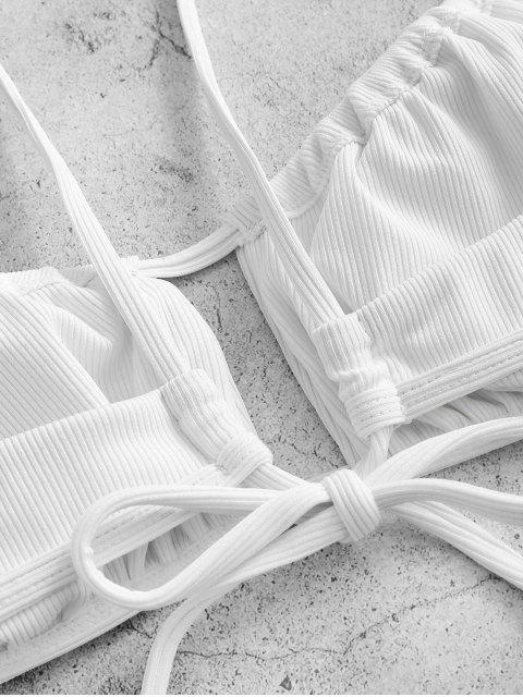fashion ZAFUL Daisy Print Ribbed Bikini Swimwear - WHITE M Mobile