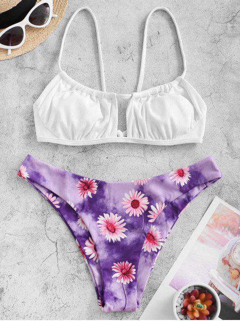 chic ZAFUL Daisy Print Ribbed Bikini Swimwear - WHITE L Mobile