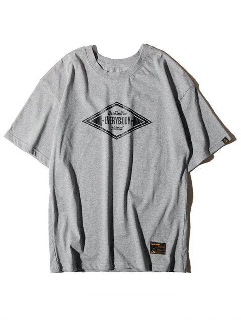 T-shirt de Manga Curta de Impressão Geométrica Carta de Gráfico - Cinzento L Mobile