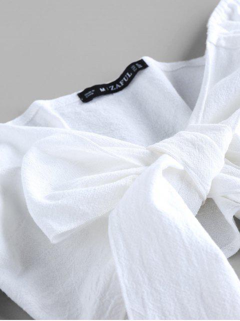 ZAFUL Gebundenes Crop Top und Streifen Papiertüte Shorts Set - Hellgrün XL Mobile