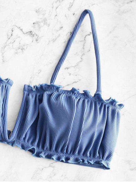 outfit ZAFUL V-wired Ribbed High Leg Bikini Swimwear - SKY BLUE L Mobile