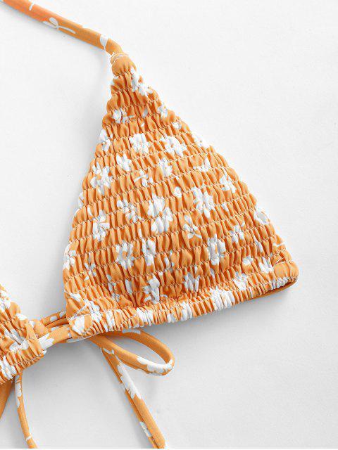 ZAFUL Bikini Fruncido con Estampado de Flor - Naranja M Mobile