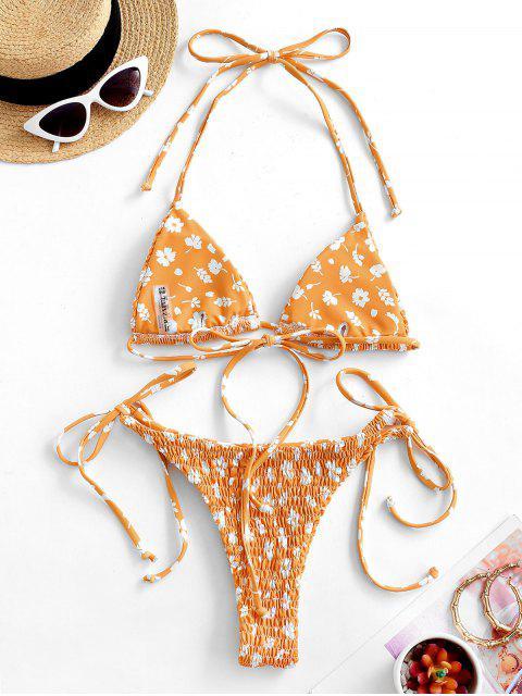 ZAFUL Bikini Fruncido con Estampado de Flor - Naranja L Mobile