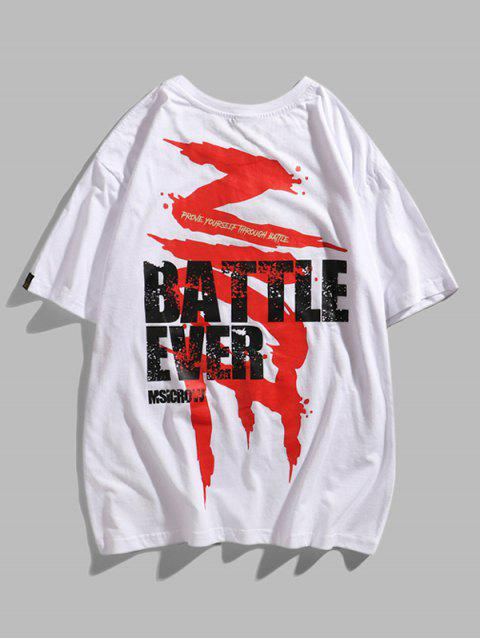 Battle Ever Paint Graphic Basic T-shirt - أبيض 2XL Mobile