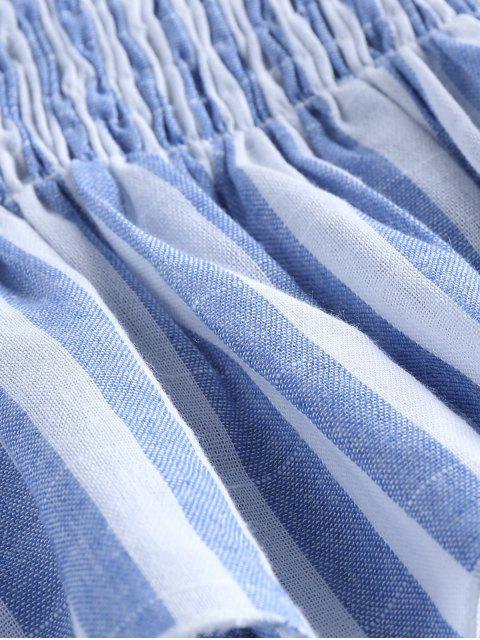 ZAFUL Haut Tube Péplum Rayé Plissé avec Bouton - Bleu clair XL Mobile