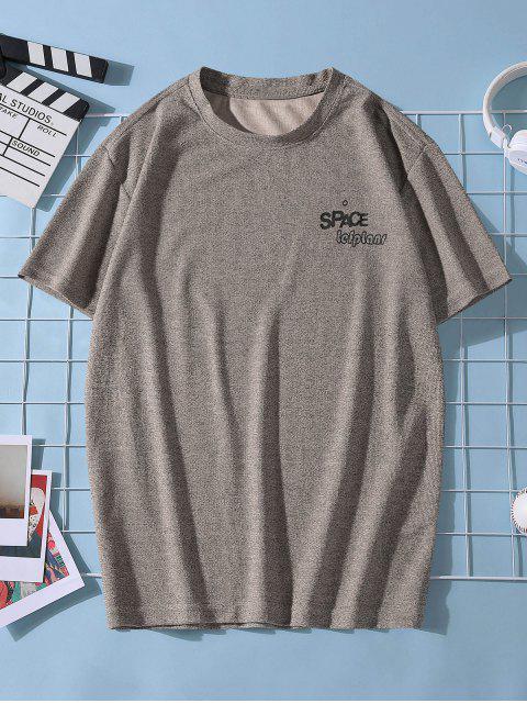 T-Shirt Stampata a Pianeta con Maniche Corte - Marrone XL Mobile