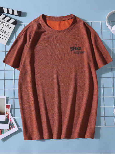 shops Planet Letter Printed Short Sleeves T-shirt - FIREBRICK XL Mobile
