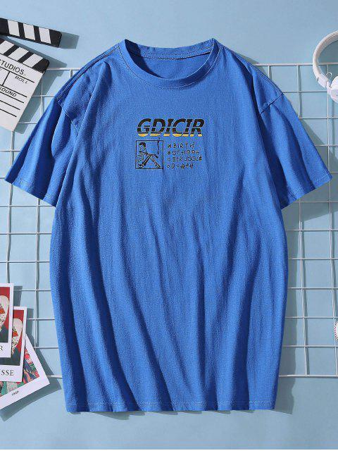 T-shirt com Impressão Gráfica e Colar Redondo - Azul XS Mobile