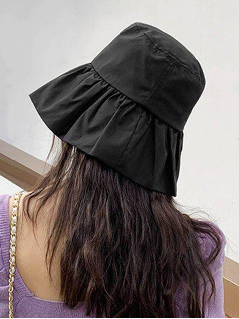 lady Sun Protection Flouncing Fisherman Hat - BLACK  Mobile