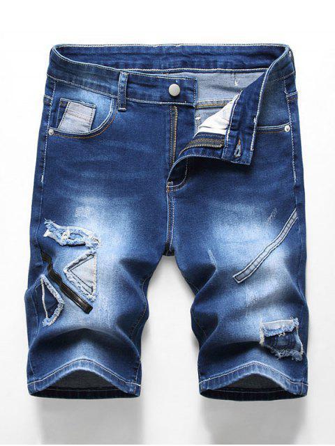 ladies Patchworks Decoration Zip Fly Denim Shorts - DENIM DARK BLUE 40 Mobile
