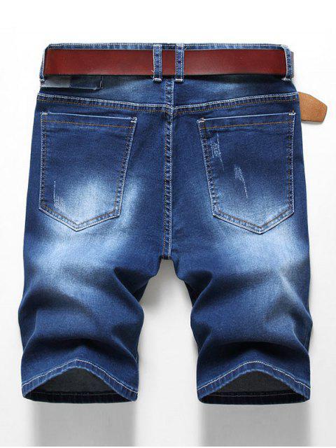 women's Patchworks Decoration Zip Fly Denim Shorts - DENIM DARK BLUE 38 Mobile
