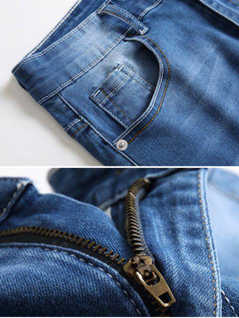 fancy Patchworks Ripped Decorated Denim Shorts - DENIM DARK BLUE 42 Mobile