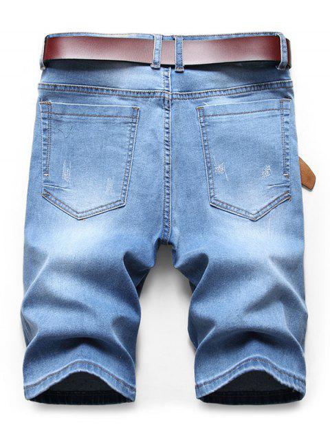 hot Pigmented Dot Print Denim Shorts - DENIM BLUE 36 Mobile