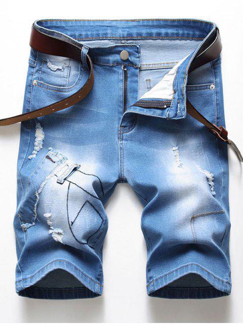 best Ripped Patchworks Decorated Denim Shorts - DENIM BLUE 38 Mobile