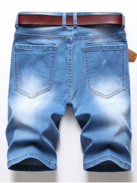 ladies Ripped Patchworks Decorated Denim Shorts - DENIM BLUE 34 Mobile