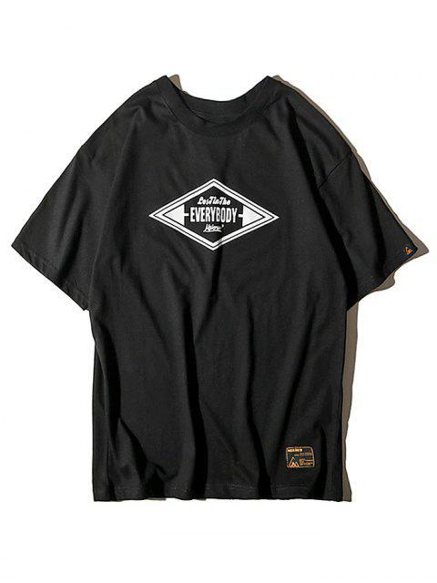 Camiseta con Texto Geométrico con Estampado Gráfico de Letras - Negro M Mobile