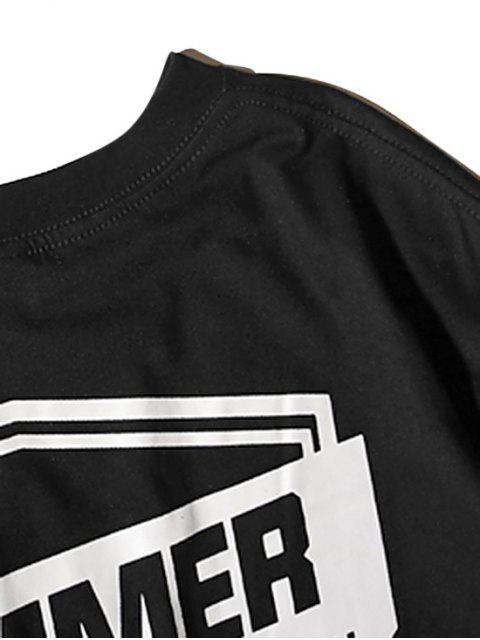 fashion Letter Geometric Graphic Print T-shirt - BLACK XL Mobile