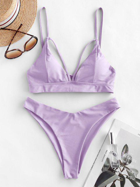 outfit ZAFUL Strappy Lace-up Bikini Swimsuit - LAVENDER BLUE M Mobile