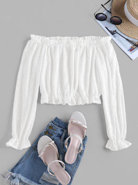 outfit ZAFUL Eyelet Off Shoulder Poet Sleeve Blouse - WHITE L Mobile