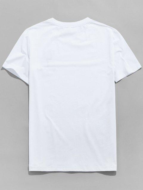 ladies ZAFUL Flower Letter Print Short Sleeves T-shirt - WHITE XL Mobile