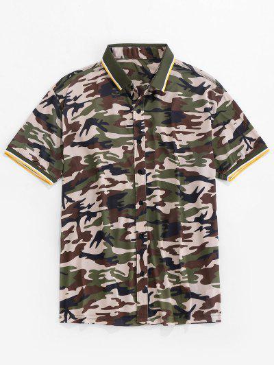 Camisa Casual De Manga Corta Con Estampado De Camuflaje - Camuflaje De Bosque S