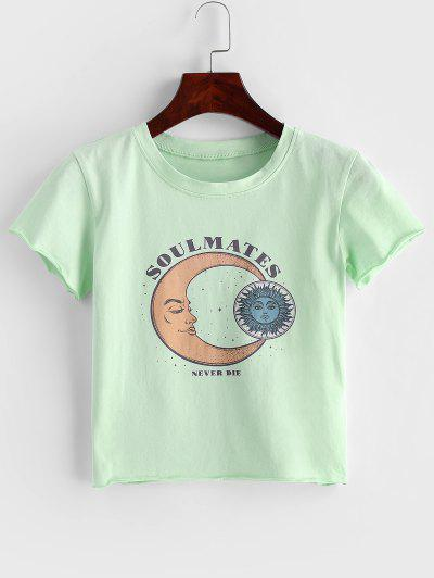 Moon And Sun Graphic Roll Hem Crop Tee - Light Green L