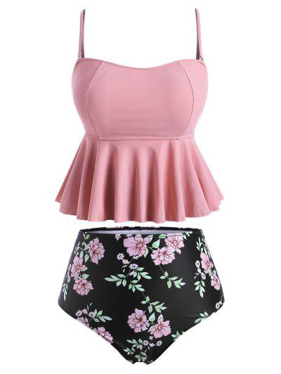 Plus Size Floral Print High Rise Tankini Swimwear