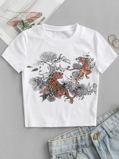 Camiseta Recortada Acanalada Con Estampado Floral De Tigre - Blanco M