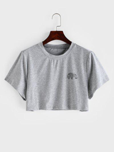 Marled Elephant Graphic Crop Tee - Gray S
