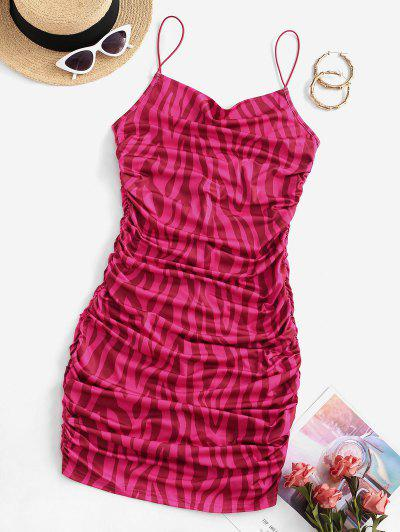 Bungee Strap Ruched Bodycon Dress - Rose Red S