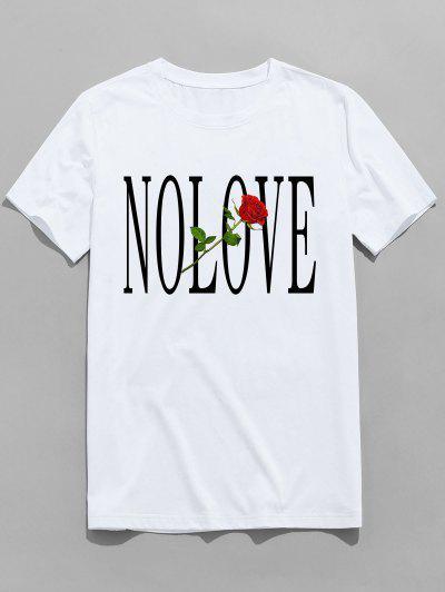 ZAFUL Flower Letter Print Short Sleeves T-shirt - White M