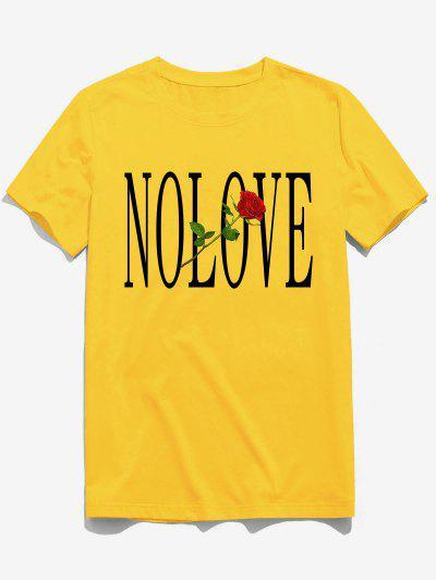 ZAFUL Flower Letter Print Short Sleeves T-shirt - Bright Yellow M