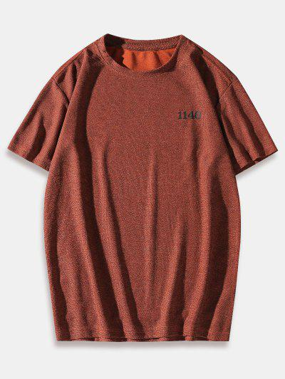 Number Letter Printing Short Sleeves T-shirt - Red 2xl