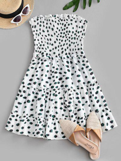 Smocked Printed Bandeau A Line Dress - White S