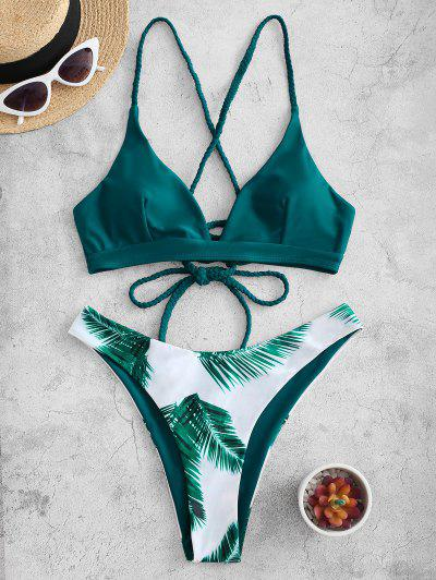 ZAFUL Criss Cross Lace Up Floral Leaves Print Bikini Swimsuit - Peacock Blue M