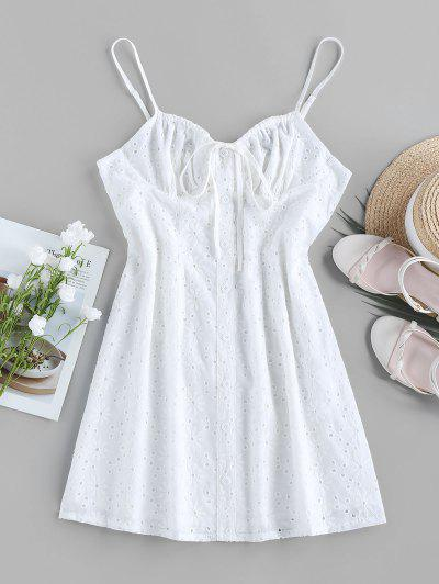 ZAFUL Broderie Anglaise Mock Button Bowknot Dress - White M
