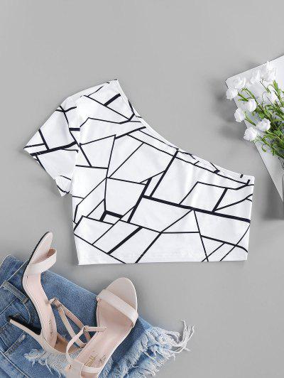ZAFUL One Shoulder Geo Print Crop Top - White M