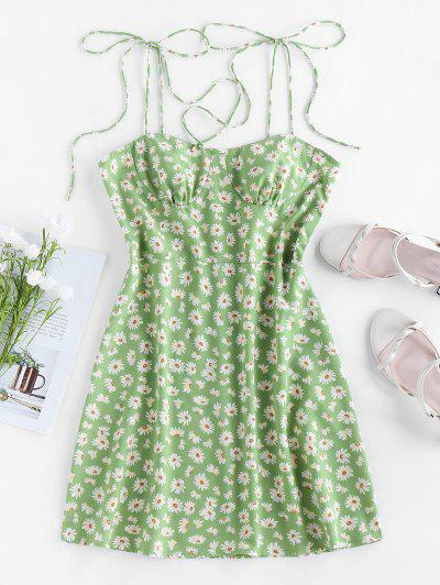 ZAFUL Backless Ditsy Print Tie Shoulder Dress - Pistachio Green S