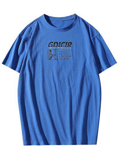 T-shirt Lettre Graphique Imprimé à Col Rond - Bleu Xl