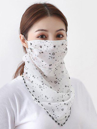 Heart Print Chiffon Riding Face Mask Scarf - White