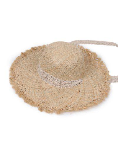 Lace Tape Raw Edge Straw Hat - Beige