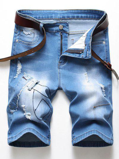 Shorts De Denim Desgarrador Embellecido Con Parches - Azul Denim 36