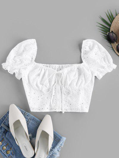 ZAFUL Embroidered Puff Sleeve Crop Blouse - White S