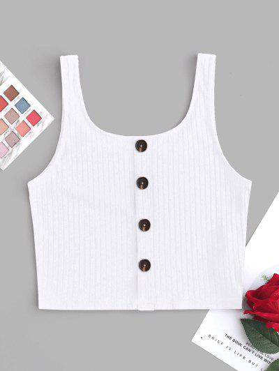 ZAFUL Mock Button Knit Tank Top - White S