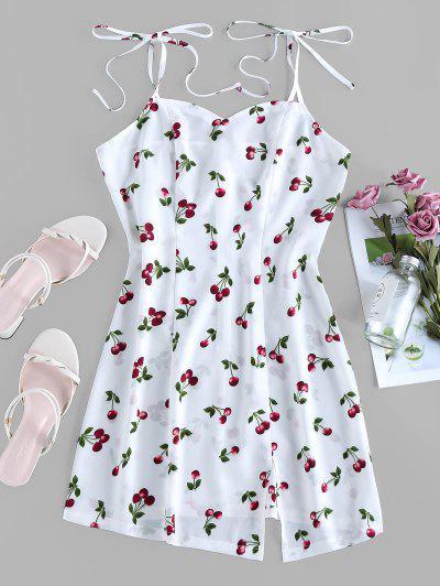 ZAFUL Cherry Print Tie Shoulder Slit Mini Dress - White S