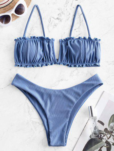 ZAFUL V Verdrahteter Bikini Badebekleidung Mit Hohem Bein Und V-Kabel - Himmelblau L